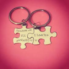because we fit perfectly i love you couples keychains couples
