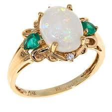 eclectic lion ring holder images 14k yellow gold australian opal ring with emerald and diamond jpg