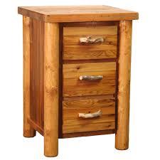 barnwood round leg 3 drawer nightstand