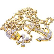 gold rosary mens diamond anchor skull rosary necklace 14k yellow gold 15 87 ct