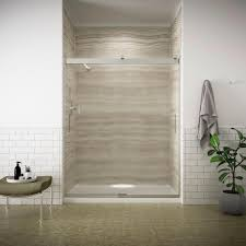 sterling standard 59 in x 56 7 16 in framed sliding tub and
