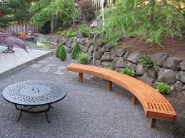 bench outdoor curved fire pit bench backyard landscape and patio