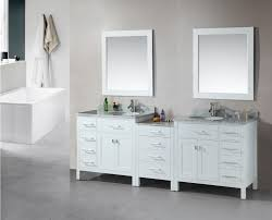 Double Faucet Double Sink Vanity White Grey Stained Wooden Table Brown Varnished