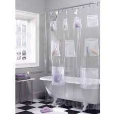 vinyl shower curtain with transparent and long design bathroom