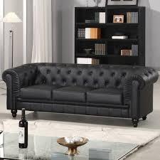 canapé simili cuir noir canapé chesterfield noir capitonné en simili cuir 3 places