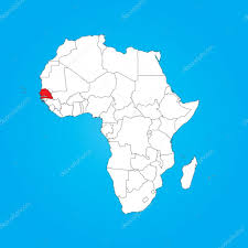 africa map senegal map of africa with a selected country of senegal stock photo
