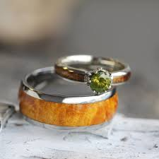 Wood Wedding Rings by Wood Wedding Ring Set Peridot Engagement Ring With Wood Ring