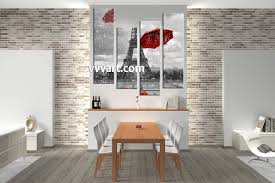 Large Eiffel Tower Statue 4 Piece Red Umbrella Black And White Multi Panel Art