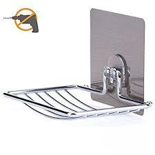 bathroom shoo holder amazon com soap dish laungda adhesive soap holder chrome soap
