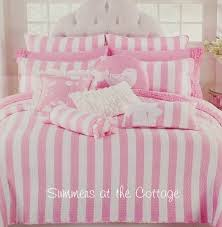 Beach Cottage Bedding Summer Beach House Pink White Cabana Stripe Twin Quilt