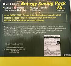 k lite energy saving light bulb pack 2 bulbs per pack 75 watt
