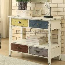 distressed white console table coaster 950545 aged farmhouse console table distressed white console