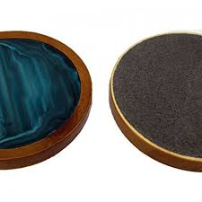 drink coaster set of 6 with wooden base teal