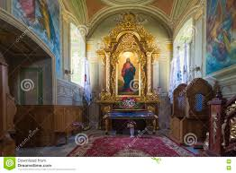 indoor interior in old church preserved interior decoration and