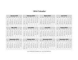 2016 printable calendar on one page calendar template 2017