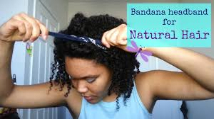 quick and easy bandana headband hairstyle for natural curly hair