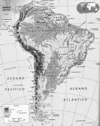 South America Physical Map Digital Vector South America Political Map With Sea Contours