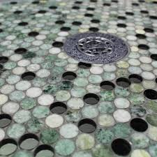 reflection athens gray and wooden beige penny round marble and