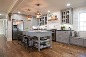 fixer upper copper accents gray cabinets and ashley green