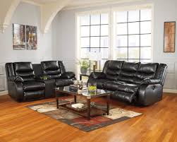 Ashley Furniture Tufted Sofa by Linebacker Durablend Black Reclining Living Room Set From Ashley