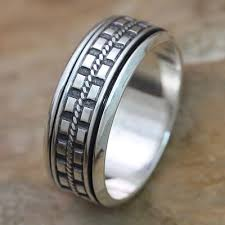 silver hand rings images Hand crafted sterling silver spinner ring for men long journey jpg