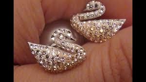 iconic earrings swarovski silver tone ombré swan stud earrings