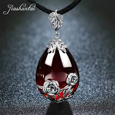 silver sterling pendant necklace images Jiashuntai retro 100 925 silver sterling rose pendant necklace jpg