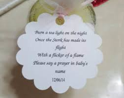 candle baby shower favors tea light favor tags etsy