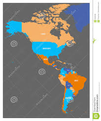 Map Americas by Political Map Of Americas In Four Colors On Dark Grey Background