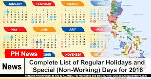 complete list of regular holidays and special non working days