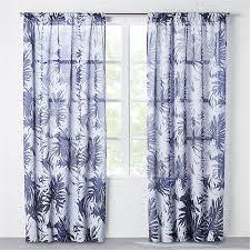 Leaf Design Curtains The Hill Side Palm Leaves Sheer Navy Curtain Panel Cb2