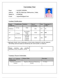 Resume Format For Be Freshers Cv For Tcs