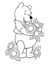 winnie the pooh coloring pages the sun flower pages