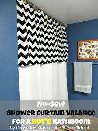 Valance For Bathroom No Sew Shower Curtain Valance For The Boy U0027s Bathroom