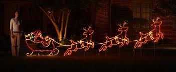 outdoor lighted santa reindeer decoration