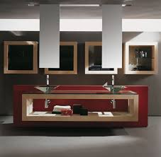 extraordinary red floating bathroom vanity used two glass
