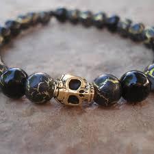 mens skull bracelet images Mens skull bracelet black obsidian from quot make me smile quot jewelry jpg