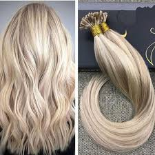 keratin tip extensions flat tip ash highlighted with human hair extensions