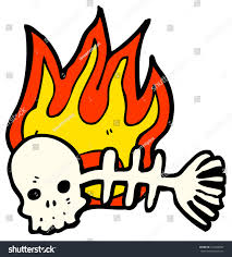 spooky clip art spooky flaming skull fish bones stock illustration 103668683