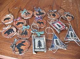 rustic woods ornaments moose fish cabin favorites