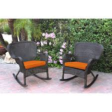 of 2 windsor espresso resin wicker rocker chair with orange cushions
