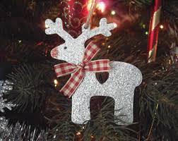 Glitter Deer Christmas Decor by Glitter Reindeer Etsy