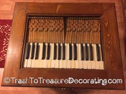 table top made from upcycled old piano keys trash to treasure
