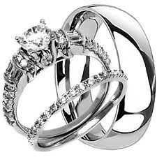 wedding rings his and hers cubic zirconia titanium engagement wedding ring sets ebay