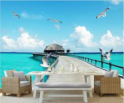 compare prices on small wall murals online shopping buy low price custom photo designs 3d wall murals wallpaper sea view small bridge grass seagulls decor picture wallpapers