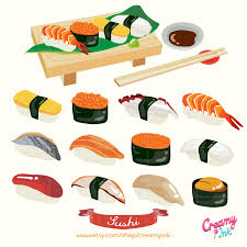 clipart cuisine japanese sushi digital vector clip food digital clipart