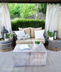 lowes outdoor side table oak barrel planters from home depot or lowes turned upside down for