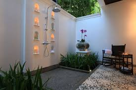 bathroom minimalist outdoor design with antique head bathroom minimalist outdoor design with antique head shower and cream stone wall also ceramic