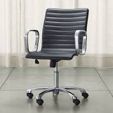 Leather Office Chair Ripple Black Leather Office Chair With Chrome Base Reviews Crate