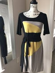 newyork dress perceptions new york dress with belt sz xs black yellow 3 4
